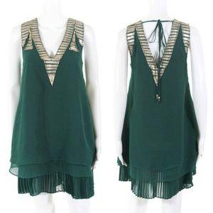 Meghan LA, Embellished Shift Dress, Emerald, XS